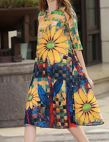 Damen Lose Kleid-Ausgehen Blumen Rundhalsausschnitt Knielang 3/4 Ärmel Polyester Sommer Mittlere Hüfthöhe Mikro-elastisch Mittel
