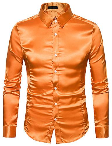 voordelige Herenoverhemden-Heren Luxe Standaard Overhemd Effen Spread boord Slank Geel / Lange mouw
