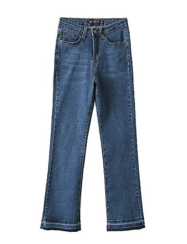 Damen Street Schick Hohe Hüfthöhe Mikro-elastisch Bootcut Jeans Hose,Andere Ganzjährig Solide
