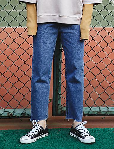 بنطلون جينزات مطاط صغير بوتكات وسط بسيط سادة نساء