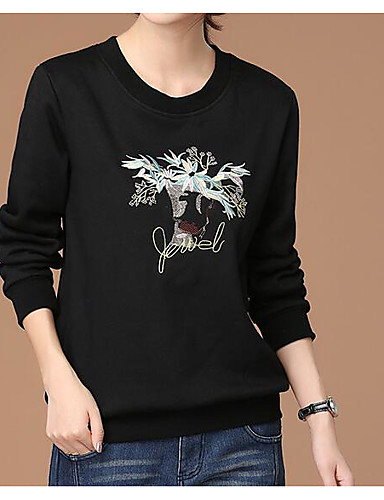 Damen Pullover Lässig/Alltäglich Einfach Solide Druck Rundhalsausschnitt Mikro-elastisch Baumwolle Lange Ärmel Herbst