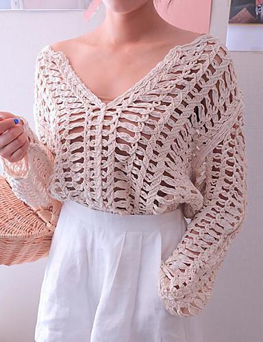 Damen Standard Pullover-Strand Solide V-Ausschnitt Langarm Andere Frühling Herbst Mittel Mikro-elastisch