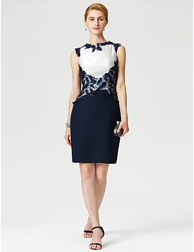 Szűk szabású Ékszer Térdig érő Sifon / Fonalas csipke Örömanya ruha val vel Rátétek által LAN TING BRIDE®