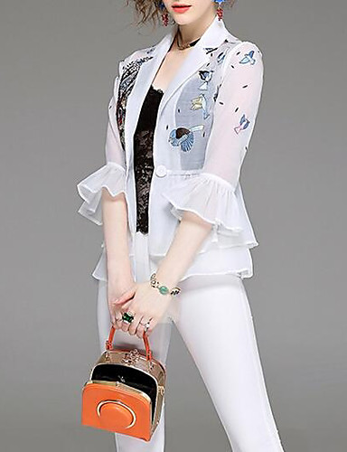 Damen Druck Einfach Lässig/Alltäglich Blazer,V-Ausschnitt Herbst Lange Ärmel Standard Baumwolle