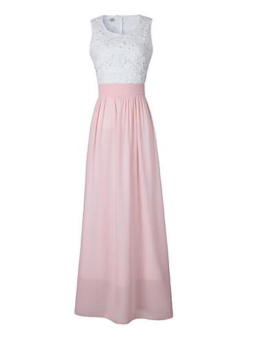 Damen Boho Hülle Kleid Solide Maxi Hohe Hüfthöhe
