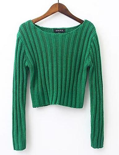 Damen Solide Alltag Ausgehen Street Schick Pullover Langarm Rundhalsausschnitt Herbst Baumwolle