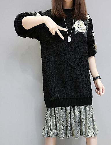 Damen Lose Strickware Kleid-Ausgehen Lässig/Alltäglich Solide Stickerei Rundhalsausschnitt Midi Langarm Baumwolle Frühling HerbstMittlere