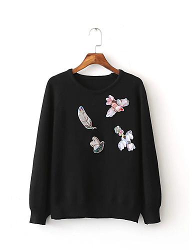 Damen Standard Pullover-Lässig/Alltäglich Ausgehen Einfach Solide Druck Rundhalsausschnitt Langarm Baumwolle Andere Winter Herbst Mittel