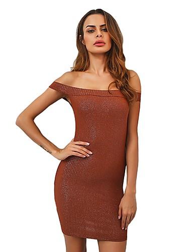 Damen Arbeit Hülle Kleid Solide Übers Knie Schulterfrei Tiefe Hüfthöhe