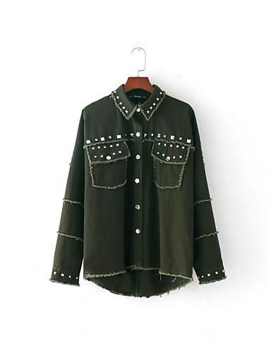 Damen Solide Aktiv Street Schick Ausgehen Lässig/Alltäglich Jeansjacke,Hemdkragen Frühling Herbst Langärmelige Standard Baumwolle