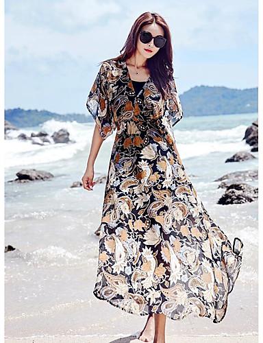 Damen Swing Kleid-Lässig/Alltäglich Druck V-Ausschnitt Asymmetrisch Halbe Ärmel Polyester Sommer Hohe Hüfthöhe Unelastisch Dünn