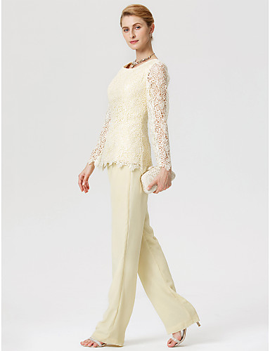 62fd34999da4 Sheath   Column   Jumpsuits   Pantsuit Jewel Neck Floor Length Chiffon    Lace Mother of the Bride Dress with Lace by LAN TING BRIDE®   Illusion  Sleeve   See ...