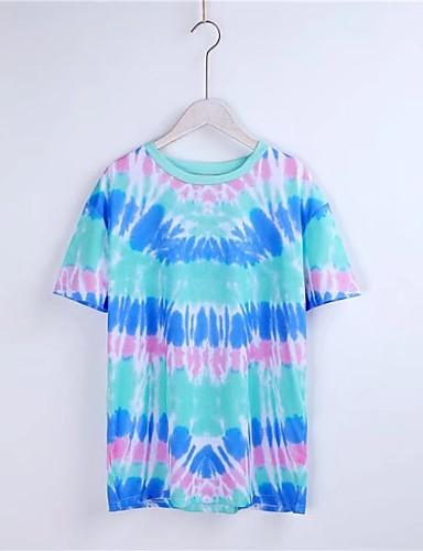 Damen Druck Einfarbig Einfach Sexy Street Schick Ausgehen Lässig/Alltäglich T-shirt,Rundhalsausschnitt Sommer Kurzarm Baumwolle Polyester