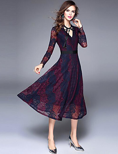 Damen Spitze Swing Kleid-Party Ausgehen Anspruchsvoll Solide Blumen V-Ausschnitt Midi Langarm Acryl Sommer Herbst Mittlere Hüfthöhe