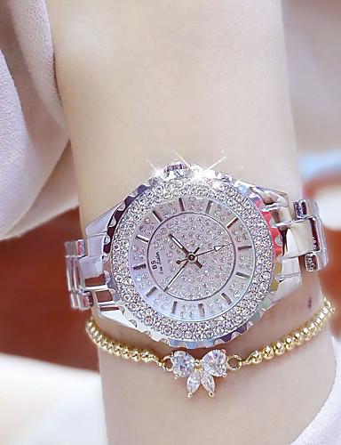 voordelige Armband Horloge-Dames Luxueuze horloges Vrijetijdshorloge Armbandhorloge Kwarts Roestvrij staal Zilver / Goud Waterbestendig Creatief Lichtgevend Analoog Dames Amulet Luxe Informeel Bangle - Goud Zilver Een jaar