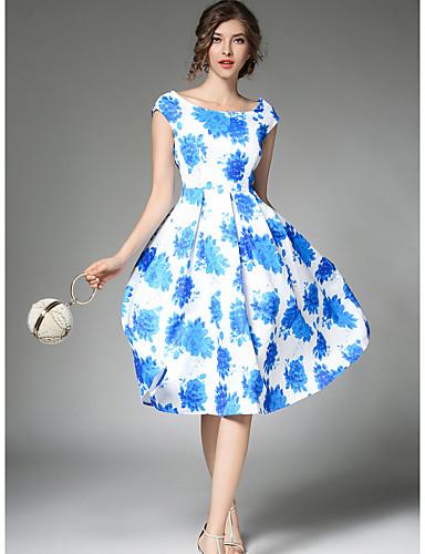 Damen A-Linie Kleid-Lässig/Alltäglich Arbeit Retro Anspruchsvoll Blumen Rundhalsausschnitt Knielang Ärmellos Polyester SommerMittlere