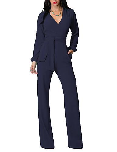 a733f9ca184 cheap Women  039 s Jumpsuits  amp  Rompers-Women  039 s. Women s Holiday    Casual   Daily   Club Street chic Deep V Navy Blue Army Green Royal Blue Wide  Leg ...