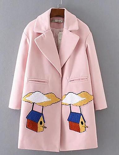 Damen Solide Einfach Lässig/Alltäglich Mantel,Schal Revers Winter Lange Ärmel Lang Baumwolle