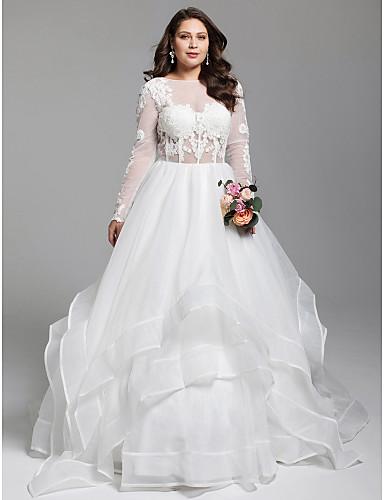 Báli ruha Bateau nyak Udvari uszály Organza / Tüll Egyéni esküvői ruhák val vel Rátétek / Fodrozott által LAN TING BRIDE®