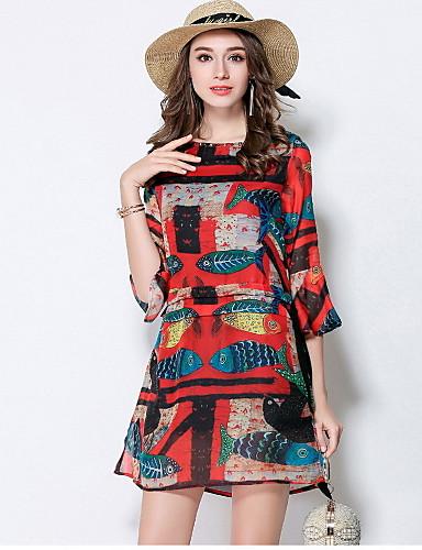 Damen Hülle Kleid-Ausgehen Niedlich Druck Rundhalsausschnitt Übers Knie 3/4 Ärmel Polyester Sommer Mittlere Hüfthöhe Mikro-elastisch