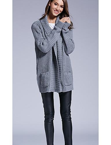 Damen Lang Strickjacke-Lässig/Alltäglich Einfach Solide Hemdkragen Langarm Acryl Herbst Winter Dick Mikro-elastisch