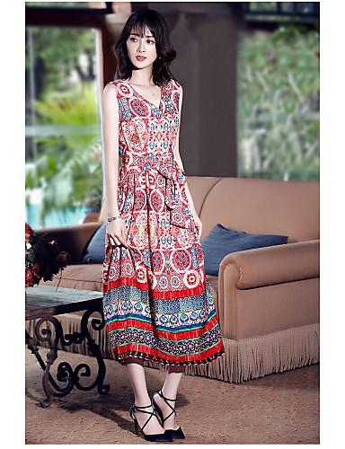 Damen Swing Kleid-Ausgehen Retro Druck V-Ausschnitt Maxi Ärmellos Polyester Sommer Mittlere Hüfthöhe Mikro-elastisch Mittel