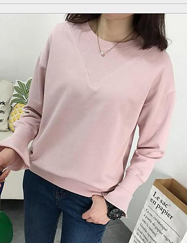 Damen Solide Einfach Lässig/Alltäglich T-shirt,Rundhalsausschnitt Frühling Langarm Baumwolle Undurchsichtig