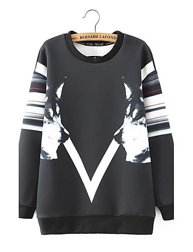 Damen Pullover Ausgehen Lässig/Alltäglich Niedlich Aktiv Solide Einfarbig Rundhalsausschnitt Mikro-elastisch Baumwolle Langärmelige