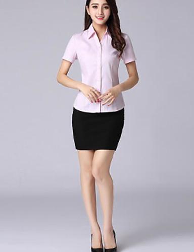 Damen Solide Einfach Lässig/Alltäglich Hemd,V-Ausschnitt Frühling Sommer Kurzarm Baumwolle