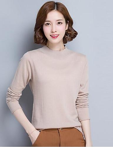 Damen Standard Pullover-Lässig/Alltäglich Solide Rollkragen Langarm Wolle Andere Herbst Winter Mittel Mikro-elastisch
