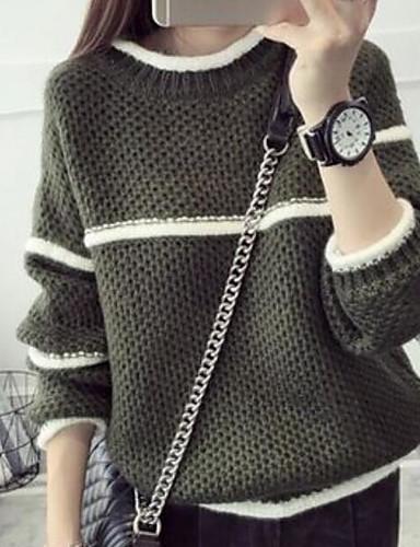 Damen Standard Pullover-Lässig/Alltäglich Gestreift Rundhalsausschnitt Langarm Baumwolle Leinen Herbst Mittel Mikro-elastisch