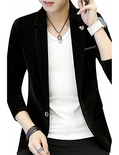 Men's Daily / Going out / Work Active / Street chic Fall / Winter Plus Size Regular Blazer, Solid Colored V Neck Long Sleeve Cotton / Polyester / Spandex Embroidered Blue / Black / Wine XL / XXL