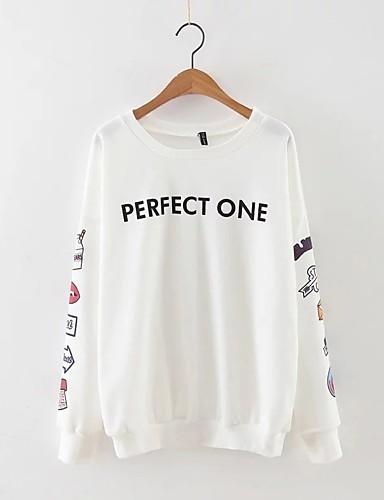 Damen Pullover Ausgehen Lässig/Alltäglich Einfach Niedlich Aktiv Solide Druck Buchstabe Rundhalsausschnitt Mikro-elastisch Baumwolle