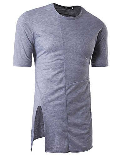 Herren Solide Einfach Ausgehen Lässig/Alltäglich T-shirt,Rundhalsausschnitt Frühling Sommer Kurzarm Baumwolle Dünn