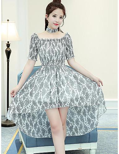 Damen Swing Kleid-Lässig/Alltäglich Druck Bateau Asymmetrisch Halbe Ärmel Polyester Sommer Hohe Hüfthöhe Unelastisch Dünn