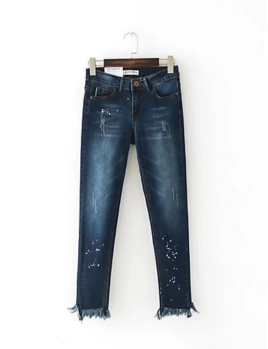 Damen Street Schick Mittlere Hüfthöhe Mikro-elastisch Eng Jeans Hose,Andere Winter Frühling Sommer Herbst Punkt