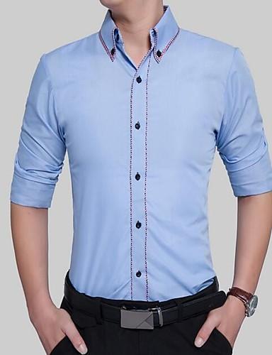 Herren Solide Einfarbig Einfach Lässig/Alltäglich Hemd,Quadratischer Ausschnitt Alle Saisons Langarm Baumwolle