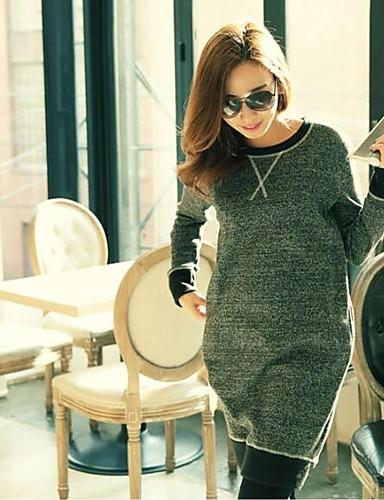 Damen Pullover Lässig/Alltäglich Einfach Solide Rundhalsausschnitt Mikro-elastisch Baumwolle Lange Ärmel Frühling Herbst