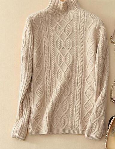 Damen Standard Pullover-Lässig/Alltäglich Solide Rollkragen Langarm Wolle Baumwolle Herbst Winter Mittel Dick Dehnbar