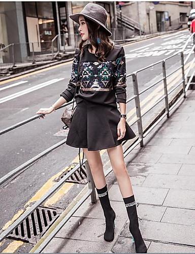Damen Geometrisch Einfach Lässig/Alltäglich Kapuzenshirt Rock Anzüge,Rundhalsausschnitt Sommer Kurzarm