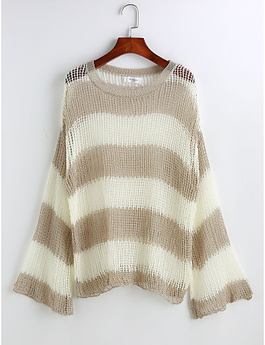 Damen Solide / Gestreift - Grundlegend Pullover / Herbst