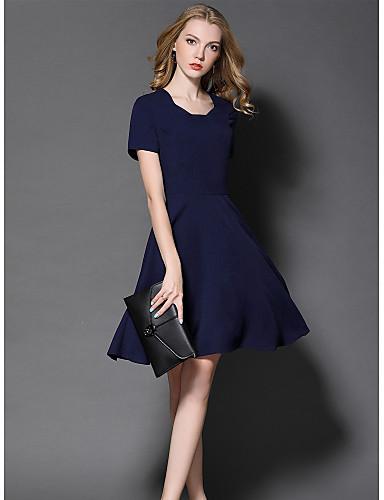 Damen Hülle Kleid-Ausgehen Niedlich Solide Rundhalsausschnitt Übers Knie Kurzarm Polyester Sommer Mittlere Hüfthöhe Mikro-elastisch Mittel