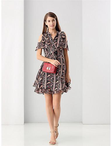 صيف بوليستر كم قصير فوق الركبة رقبة V طباعة فستان غمد جميل ذهاب للخارج نساء,وسط مطاطي صغير وسط