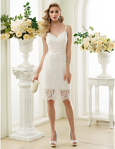 Sheath / Column Spaghetti Straps Knee Length Lace Made-To-Meature Wedding Dresses with Lace by LAN TING BRIDE® / Little White Dress