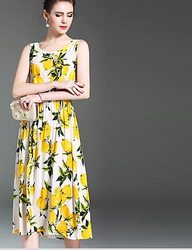 Damen Swing Kleid-Ausgehen Sexy Verziert Rundhalsausschnitt Midi Ärmellos Seide Sommer Mittlere Hüfthöhe Mikro-elastisch Dünn