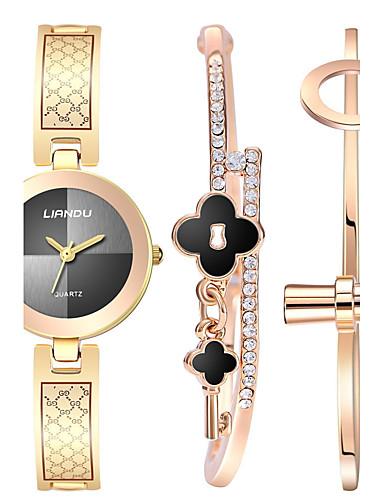 Damen Armbanduhr Armband-Uhr Quartz Schlussverkauf Edelstahl Band Kreativ Elegant Gold Rotgold