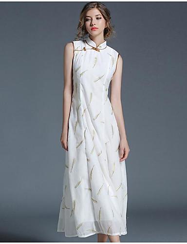 Damen Hülle Kleid-Ausgehen Anspruchsvoll Blumen Rundhalsausschnitt Midi Ärmellos Acryl Sommer Herbst Mittlere Hüfthöhe Unelastisch Dünn