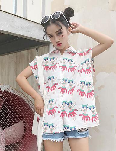 نساء قميص كاجوال/يومي بسيط طباعة قبعة القميص بدون كم قطن