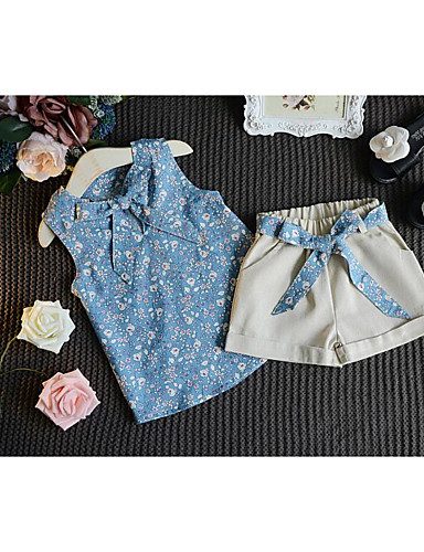 Mädchen Sets Jacquard Baumwolle Sommer Kleidungs Set