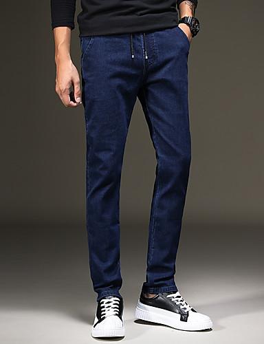 Herren Chinoiserie Mittlere Hüfthöhe Mikro-elastisch Gerade Jeans Hose Herbst Solide